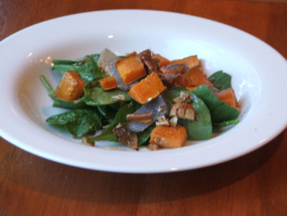 Roasted Sweet Potato and Spinach Salad with Maple-Mustard Dressing